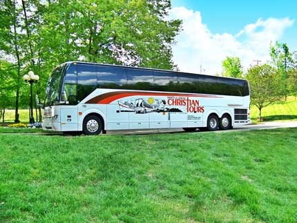 One of our new deluxe Prevost Motorcoaches